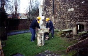 4_Lifting up merlons in 1991 which had fallen off roof